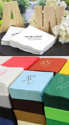 Decorate your wedding drink stations, beverage tables or reception bar with cocktail napkins personalized with a design or monogram, the bride and groom's name and wedding date. Add a splash of color and character to this wedding reception necessity. Order two to three napkins per guest as most will make multiple trips for refills. Napkin colors and custom print colors can be ordered to compliment your signature cocktails or wedding decorations.
