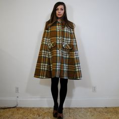 Ward off the cold, Sherlock Holmes Style: vintage wool cape / plaid size m by maisondhibou on Etsy, $65.00