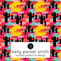 Pixel Desert Sunset. A pattern by Pattern Camper & Surface Pattern Designer Kelly Parker Smith.