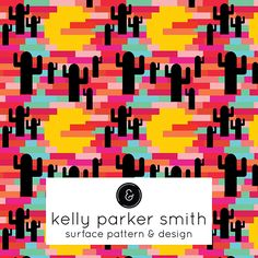 Pixel Desert Sunset. A pattern by Pattern Camper & Surface Pattern Designer Kelly Parker Smith.