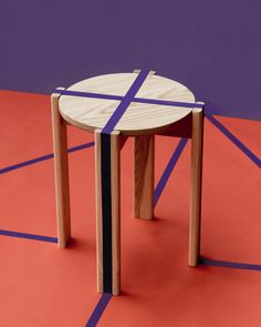 Simon Says Low Stool in natural American Ash. Photography by Cricket Studio Color Blocking, Colour Block, Low Stool, Small Tables, Industrial Design, Branding Design, Diy And Crafts, Furniture Design, Layout