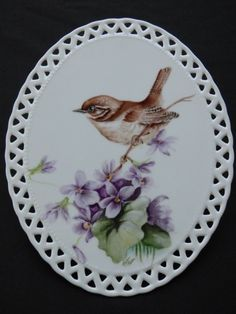 Wren & Violets On Milk Glass Pottery Painting, Ceramic Painting, Pictures To Paint, Art Pictures, China Clay, Cottage Art, Painted Plates, Blue Pottery, China Painting