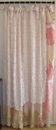 Shabby Chic Shower Curtain, Vintage Crochet, Linen, Bows