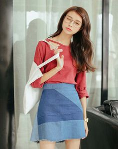 Women's #red long sleeve #TShirt casual loose style hollow cut design, round neck, Pull over.