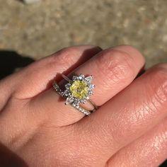 Yellow diamond hexagon ring
