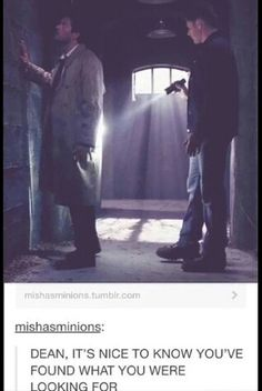 Destiel<<< not even in this fandom but I've heard so much about it that they are now my OTP Dean Winchester, Dean And Castiel, Misha Collins, Jensen Ackles, Fandoms, Decimo Doctor, Supernatural Ships, Super Natural, Family Business