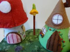 Felt handmade close up of the fairy lamp post