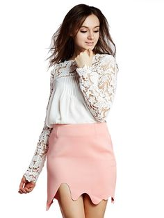 White Blouse with Lace Panel