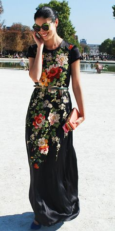 vintage-esque emboidered maxi dress