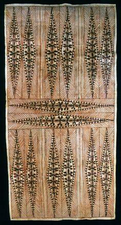 Tapa with lozenges - Beaten bark,  Fiji Islands (ca.1930) - The Bark of the Myth