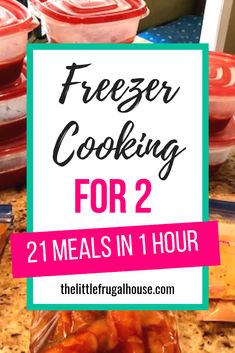 This freezer cooking for 2 plan will help you get ahead of dinnertime, and make meals in bulk to save you time and money. You will love having dinner ready every night with little effort. I'll show you how to make 21 meals for 2 in just 1 hour! Individual Freezer Meals, Budget Freezer Meals, Freezer Friendly Meals, Make Ahead Freezer Meals, Frugal Meals, Quick Meals, Premade Freezer Meals, Chicken Freezer, Cheap Meals