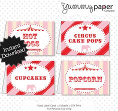Editable Vintage Circus Party Food Labels  Red and by yummypaper, $3.00