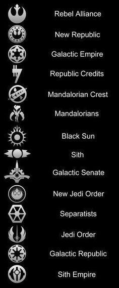 Star Wars Symbols - Jedi Order, Sith Empire, Rebel Alliance etc. Star Wars Love, Simbolos Star Wars, Nave Star Wars, Star Wars Film, Star Wars Party, Star Wars Fan Art, Star Wars Stuff, Star Wars Comics, Star Wars Ships