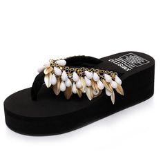 c73e197c848f New Women hawaiian sandals fashion beads platform tassels flip flops  non-slip thong slippers fashion