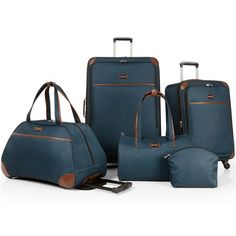 Nine West Round Trip 5 Piece Expandable Spinner Luggage Set has everything you need for a successful trip. The suitcases expand for added packing capacity and the spinner wheel system makes for easy m
