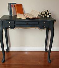 Queen Anne Dressing table/Hall table Painted in graphite over gold (Annie Sloan chalk paint)