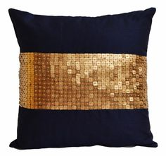 Throw Pillows - Navy Blue gold color block in silk sequin bead detail