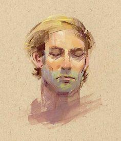 Joe Kresoja contemplation gouache on toned paper Sketchbook Inspiration, Art Sketchbook, Face Tone, Toned Paper, Guache, Oil Portrait, Gouache Painting, Watercolor Techniques, Figure Painting
