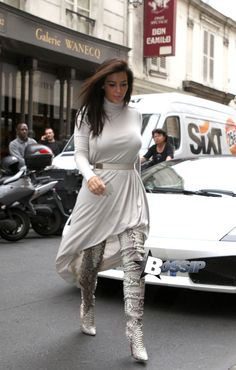Kim and Kanye go all white in Paris [USA ONLY]