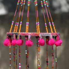 Items similar to unique windchimes-pink windchime-Gypsy Bohemian windchaim-Summer Wind Chime-Gypsy Wind Chime-Boho Wind Chime-Window Decoration-Outdoor Decor on Etsy Dream Catcher Mobile, Hanging Mobile, Beads And Wire, Suncatchers, Bohemian Decor, Fabric Scraps, Wind Chimes, Craft Projects, Craft Ideas
