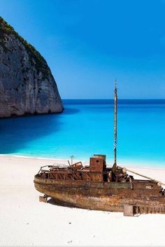 The Mystery of shipwreck beach on Zakynthos Island. On the southwest coast of Greece, deep in the sapphire waters of the Ionian, lies one mystery. Most Beautiful Beaches, Beautiful Places, Places To Travel, Places To See, Shipwreck Island, Zakynthos Greece, Greece Travel, Greek Islands, Photos