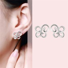 E620 factory wholesale new fashion design silver plated jewelry woman butterfly stud earrings with zircon top quality  hot