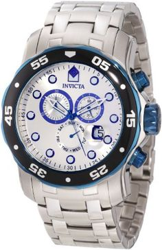 Invicta Men's 80043 Pro Diver Chronograph Silver Dial Stainless Steel Watch Invicta. $268.50. Chronograph functions with 60 second, 30 minute and day of the week subdials; magnified date window at 4:00. Water-resistant to 200 M (660 feet). Swiss quartz movement. Silver dial with blue and white hands and hour markers; luminous; unidirectional blue ion-plated stainless steel bezel with black top ring; blue ion-plated stainless steel crown and pushers. Flame-fusion crystal...