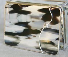 Stained Glass Jewelry Box Black and White with heart by GaleazGlass