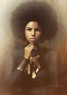 Women in afro in the - Black Girl Art, Black Women Art, Black Girls Rock, Natural Hair Art, Pelo Natural, Natural Hair Styles, Au Natural, African American Art, African Art