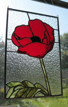 Stained Glass Panel Red Poppy by Nanantz on Etsy, $110.00