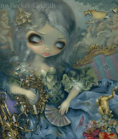 """Delusions of Grandeur - a 20x24"""" acrylic painting on wood, debuted & sold (5500) at the """"What Big Eyes You Have"""" group show at CityArts Orlando!  Prints & canvases are available though:  http://www.ebay.com/sch/i.html?_trksid=p2050601.m570.l1313&_nkw=becket+delusions&_sacat=0&_from=R40"""