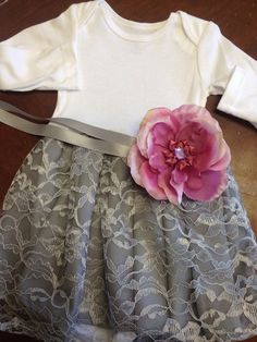 Baby Girl 12m silver gray lace onesie dress by chachalouise she has the cutest dresses in her shop!