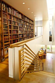 Wall of books in an elegant Santa Ynez Valley estate (California)