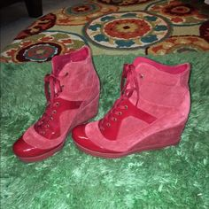 ASOS FASHION SNEAKERS ASOS RED SUEDE N PATENT LEATHER WEDGE HEEL FASHION SNEAKERS EXCELLENT CONDITION LADIES SIZE 7 ASOS Shoes Ankle Boots & Booties