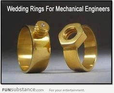 Wedding rings for mechanical engineers