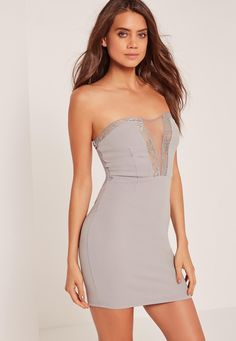 Missguided - Lace Insert Bandeau Bodycon Dress Grey