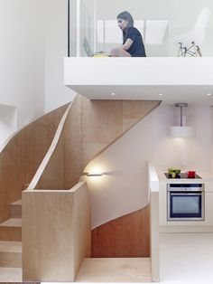 A strip of glazing cuts through the middle of this two-storey extension. Concept Architecture, Interior Architecture, Interior Design, Roof Design, House Design, Georgian Buildings, Small Staircase, Tiny House Loft, Timber Panelling