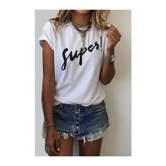 Short Sleeve Letter Print White T Shirt (€14) ❤ liked on Polyvore featuring tops, t-shirts, white, letter t shirts, white collar t shirt, white round neck t shirt, short sleeve tee and short sleeve t shirt