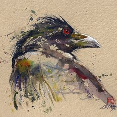 Raven watercolour by Dean Crouser