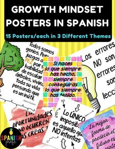 Growth Mindset Posters in Spanish. Motivational and positive sayings in Spanish for your classroom, office or hallway. Perfect classroom decor in Spanish for Spanish immersion, bilingual, dual language, middle school and high school Spanish classes and te