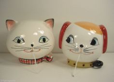 vintage Holt Howard Cat and Dog wall string holders
