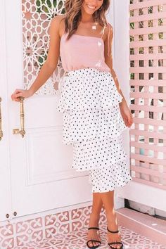 Polka Dot Tiered Pleated Midi Skirt – streetstyletrends skirt and top top for skirts fashion skirt Midi Skirt Outfit, Pleated Midi Skirt, Skirt Outfits, High Waisted Skirt, Skirt And Top Set, Street Style Trends, Night Outfits, Skirt Fashion, Casual Dresses