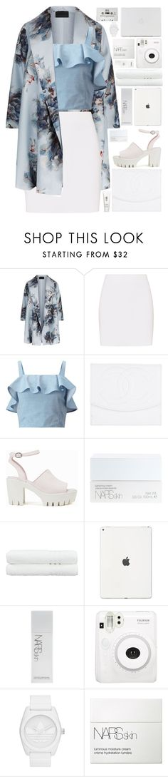 """""""floral paradise"""" by charli-oakeby ❤ liked on Polyvore featuring Marina Rinaldi, Helmut Lang, Miss Selfridge, Chanel, Nly Shoes, NARS Cosmetics, Linum Home Textiles, H2O+, Fuji and adidas Originals"""