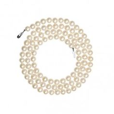 """""""80 cm (32 inches) Opera necklace featuring white 7.0-7.5 mm freshwater pearls and small Mermaid clasp in 14k white gold. """" Pearl Stories, pearl jewelry, pearl jewellry"""
