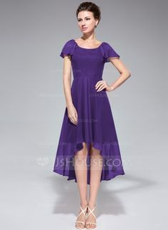 A-Line/Princess Scoop Neck Asymmetrical Chiffon Mother of the Bride Dress With Cascading Ruffles (020042831) - JJsHouse