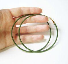 Dark Green Hoop Earrings