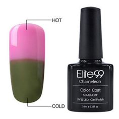Elite99 thermal changing nail polish Elite99   Volume: 10ml   Color: 5011  Features:  * These colors amazingly change color with the heat of your body  * Best quality control to ensure high quality polish  * It offers the widest color range for reasonable price  * Long lasting for at least 2-3 weeks  * No grinding. No filing. No drying time after application: curing with UV gel.  * No more imperfect surface, dents or nails cut. Color resistant, flexible and shiny  TO GET A DISCOUNT PLEASE…