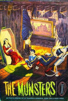 """Aurora """"The Munsters"""" Model Kit Box Art Munsters Tv Show, The Munsters, Munsters Theme, Munsters Grandpa, Munsters House, Herman Munster, Lily Munster, Famous Monsters, Classic Monsters"""