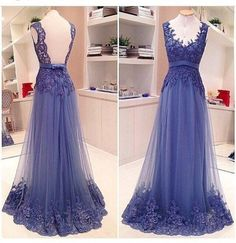 A Line Formal V Neck Lace See Through Back Pretty Popular Long Prom Dresses, WG221 The long prom dress is fully lined, 4 bones in the bodice, chest pad in the bust, lace up back or zipper back are all