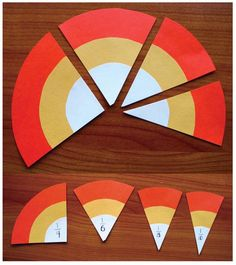 "Candy Corn Craft and Fraction Fun.  FREEBIE.  Easily make ""candy corn"" by cutting a circle (small-medium-large glued together.) Can use the pieces for a variety of things, and also to show whole, 1/2, 1/4, 1/5, 1/8 and 1/10."